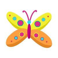 Mariposa de colores brillantes en estilo de dibujos animados, objeto vectorial sobre un fondo blanco, insecto con alas.impresión para ropa de bebé, pegatina vector