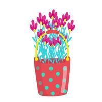 Cubo de lunares rojo brillante lleno de margaritas, ramo de margaritas, flores de primavera, ilustración vectorial en estilo de dibujos animados, plano. vector