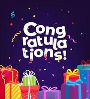 Felicidades. tarjeta de felicitación navideña vector