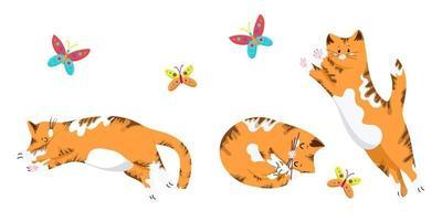 conjunto de gatos en diferentes poses, divertidos gatitos rojos, gato saltando por una mariposa, lindas mascotas en estilo de dibujos animados, objetos vectoriales sobre un fondo blanco, dibujar a mano. vector