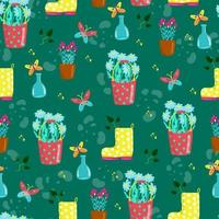 Seamless pattern with yellow boots and different flowers in pots, cute baby print, floral spring pattern in cartoon styl, hand draw, daisies in red bucket, vector. vector