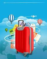 Travel bag and different touristic elements vector
