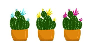 Set Prickly green cactus blooms with yellow flowers in a brown pot, tropical plant, home flowers in cartoon style, vector object, hand draw, isolate white background.