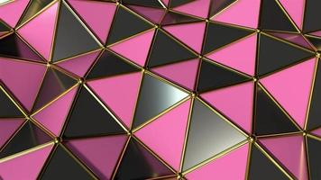Reflective Pink and Black Polygon Waves with Golden Edges in Motion
