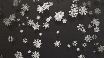 Fondo de movimiento de copos de nieve plateados con partículas doradas, luces suaves y sombras