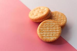 Homemade biscuits on color background close up photo