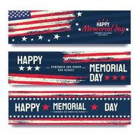American Memorial Day Banner with Rough Effect vector