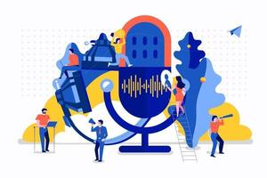 Vector illustrations concept design podcast channel. Teamwork podcasting. Studio microphone table broadcast people. Podcast radio icon.
