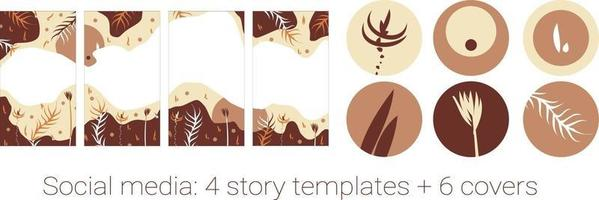 Vector set of abstract creative autumn trendy backgrounds - design templates for stories