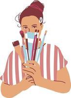mujer artista dibujar ilustración vectorial plana. imagen de pintura femenina de carácter aislado en blanco. chica creativa sostiene en las manos pinceles de pintura. artista femenina neutral seria. vector