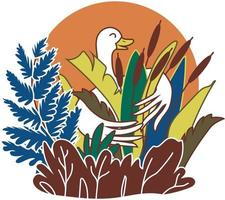 Vector color illustration goose and reeds