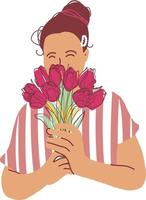 Woman with tulips bouquet flat vector illustration. Character female paint image isolated on white. Girl holds in hands spring flowers