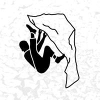 Climber silhouette an a rock vector illustration