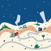 Winter snow hills house street nature landscape vector illustration. Flat, simple, cartoon.