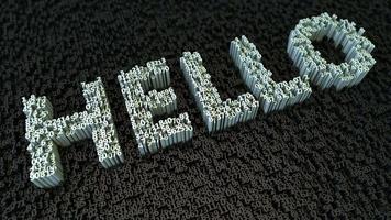 etiqueta hello em negrito com letras feitas de fundo de movimento de pequenos dígitos 3D