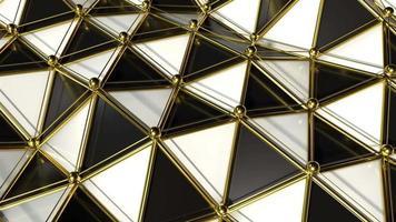 ondas poligonais reflexivas em preto e branco com fundo de movimento de bordas douradas