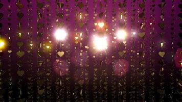 Fundo de movimento festivo de corações dourados com partículas e reflexos de lente