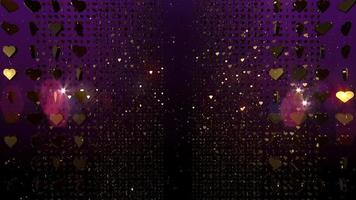 Festive Golden Hearts Glitter Motion Background with Particles and Lens Flares