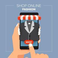 Illustrations flat design concept mobile shop online store. Hand hold mobile sale fashion shopping. vector