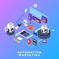 Flat design concept automation marketing. Digital marketing tools. Design template for website and banner. vector
