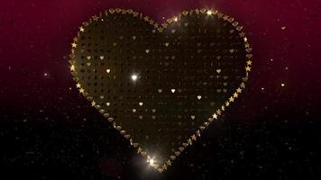 coração de diamante de estrela dourada piscando em pano de fundo gradiente vermelho video