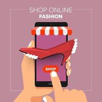 Illustrations flat design concept mobile shop online store. Hand hold mobile sale fashion shopping. vector