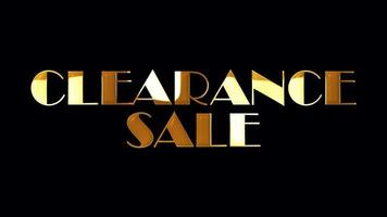 Clearance Sale Golden Text Light Loop Animation Isolated