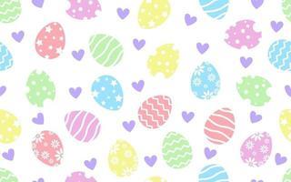 Patrón sin fisuras de felices pascuas decorado con coloridos huevos de pascua y corazón sobre fondo blanco. vector