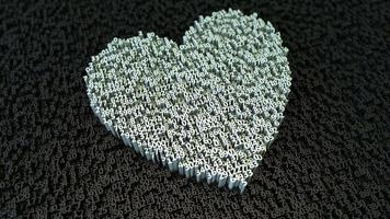 coração abstrato feito de pequenos dígitos 3D movimento elegante fundo