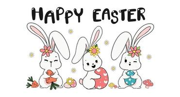 Three triple Spring Easter Bunny Rabbit with Easter egg, carrot and flower, cute doodle cartoon drawing banner vector