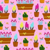 Seamless pattern with yellow, blue and purple-pink hyacinths in a pot, beautiful spring flowers in a brown pot, gift for Women's Day, vector illustration in cartoon style, flat, hand draw.