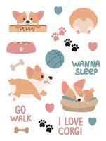 Cute set of corgi stickers vector cartoon illustration