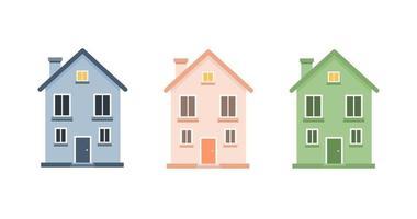 Set of cute cartoon houses vector illustration. Little house, colourful house, flat houses illustration.