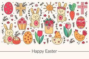 Happy Easter holiday doodle line art design. Rabbit, bunny, christian cross, cake, cupcake, chicken, egg, hen, flower, carrot, sun. Isolated on background.