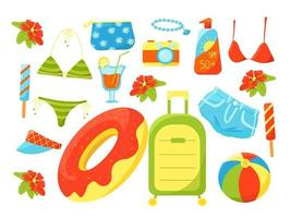 Large summer set of holiday items, swimsuit, cocktail, suitcase, camera, beautician, vacation at sea, set of summer things, vector illustration in flat style, cartoon.