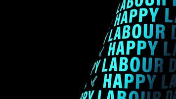 Happy Labour Day Blue Word Tube Loop Rotating