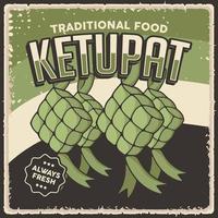Retro Vintage Ketupat Indonesian Traditional Food Sign Poster vector