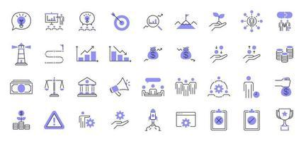 conjunto de iconos de presentación de negocios. vector