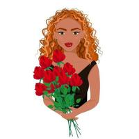 The girl in black dress with a bouquet of red roses in her hands, beautiful red-haired woman with makeup, beautiful woman avatar, vector illustration in flat style.