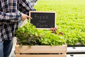 Farmer holding small blackboard with word of fresh from farm in hydroponic farming photo