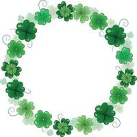 St. Patrick's Day vector floral wreath. Round frame of clover leaves. Volumetric foliage wreath