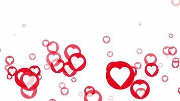 flutuante mídia social animação em loop de corações vermelhos