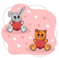 Sweet little bunny and kitten with hearts on pink background. Vector illustration.