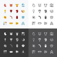 Vector flat icons set of foods outline concept.