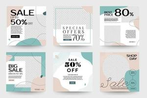Set of social media sale templates with organic shapes vector