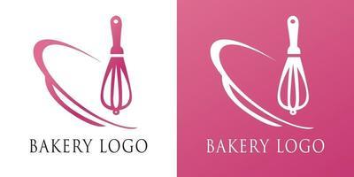 concepto de panadería logo diseño plano de línea simple estilo de espacio negativo colorido ilustración vectorial para negocios, empresa vector