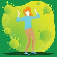 La mujer y la imagen vectorial de virus para contenido médico. vector