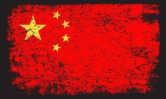 Chinese flag in rusty grunge distressed textured effect vector