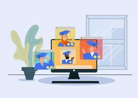 Illustrated virtual graduation ceremony concept.