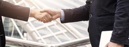 Successful agreement negotiation and confident partner cooperation concept photo